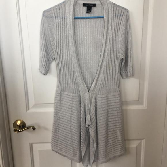 White House Black Market Sweaters - WHBM Short Sleeve Ribbed Silver Cardigan
